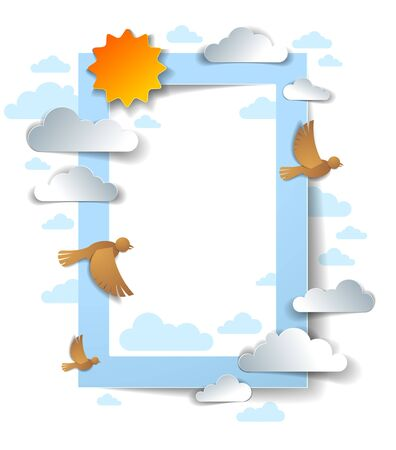 Birds flying in the sky among beautiful clouds and sun, background or frame with copy space for text, greeting card, summer cloudscape, vector illustration in paper cut kids style.