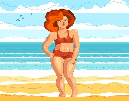 Plus size attractive and sexy woman posing at the beach in front of the sea, vector illustration concept of body positivity health and happiness, love your body idea.
