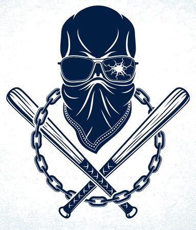 Criminal tattoo, gang emblem or logo with aggressive skull baseball bats design elements, vector, bandit ghetto vintage style, gangster anarchy or mafia theme.