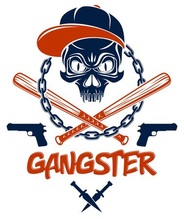 Criminal tattoo ,gang emblem or logo with aggressive skull baseball bats and other weapons and design elements, vector, bandit ghetto vintage style, gangster anarchy or mafia theme. Фото со стока - 147427339