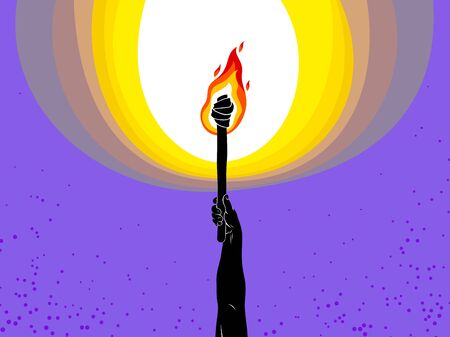 Torch in a hand raised up illuminates the dark vector illustration, Prometheus, flames of fire, bring the light to the dark, conceptual allegory art.