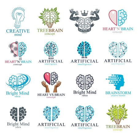 Brain and intelligence vector icons or logos concepts set. Artificial Intelligence, Bright Mind, Brain Training, Feelings soul versus Rational thinking, Creativeness, Brainstorming, Mental Health.