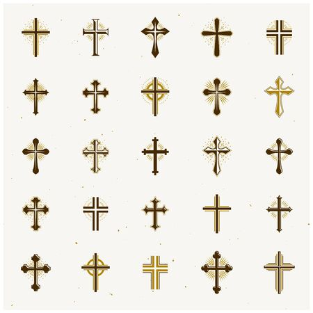 Crosses of Christianity Religion emblems set. Heraldic Coat of Arms decorative logos isolated vector illustrations collection. Logo