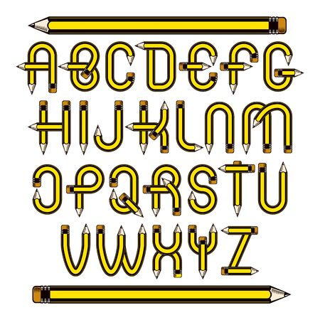 Vector script, modern alphabet letters set constructed with sharp pencils, office tools design. Can be used for logo creation in engineering or construction business.