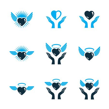 Guardian angel vector conceptual emblems collection, graphic illustrations for use in religious organizations Çizim