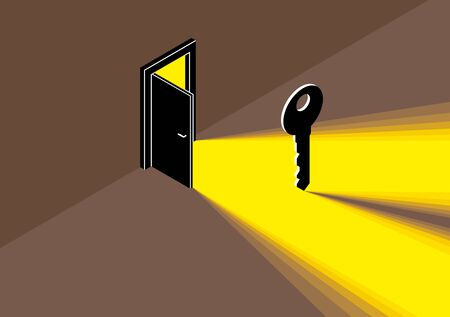 The key to success vector conceptual illustration with half open door giving light to dark place and key, new opportunities, secret mysterious door.