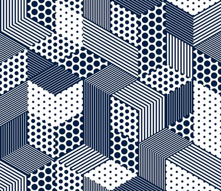 Seamless dotted and lined cubes vector background, dots and lines boxes repeating tile pattern, 3D architecture and construction, geometric design.
