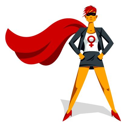 Feminist woman superhero vector illustration, social justice warrior, struggle fight for rights, girl power, grl pwr.  イラスト・ベクター素材