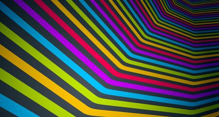 Abstract lines in 3D dimensional perspective abstract vector background, cool funky design layout, 70s retro template.