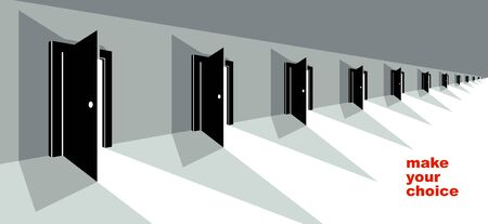 Different doors half open symbolizes diversity of variants and choosing alternate options vector illustration 3d modern poster style.