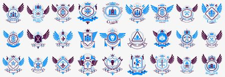 Heraldic Coat of Arms vector big set, vintage antique heraldic badges and awards collection, symbols in classic style design elements, family or business logos. Stok Fotoğraf - 147668016