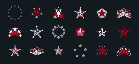 Stars vintage heraldic emblems vector big set, antique heraldry symbolic badges and awards collection with pentagonal stars, classic style design elements, family emblems. Vectores