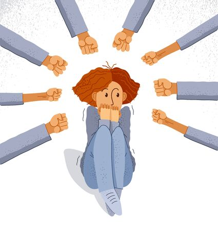 Bullying vector concept, clenched fists threats scared young woman victim, psychological abuse, violence against women, problem of cruel behavior in social groups, discrimination.