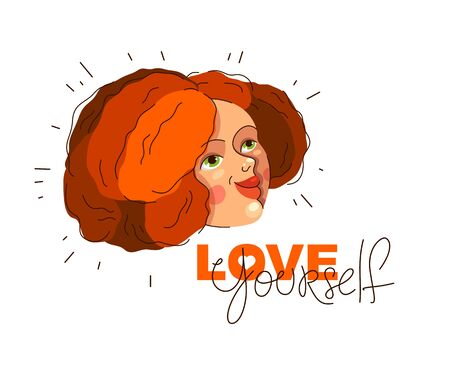 Love yourself vector concept, portrait of cute attractive woman and lettering, be selfish, accept your body, take care of yourself. Иллюстрация