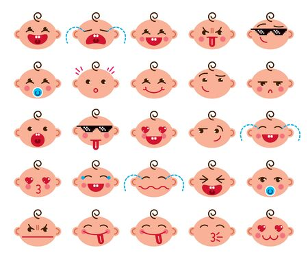 Cute baby cartoon vector flat icons set of emoji smiley collection, adorable, happy, smiling, laughing, showing tongue, cool pixel glasses, showing tongue, crying, sad and angry.