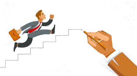 Business man run and hurry on stairs drawing by big hand of boss vector illustration, funny comic cute cartoon worker or employee motivated to career growth success.