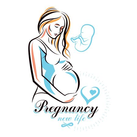 Vector hand-drawn illustration of pregnant elegant woman expecting baby, sketch. Pregnancy support and mother care advertising flyer