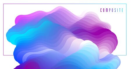 Abstract colorful fluid vector background, dimensional gradient shape element for design, flowing 3D wave, color dynamic motion layout.