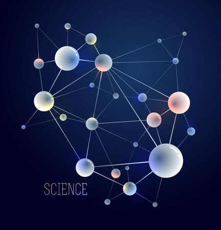 Molecules vector abstract background, 3D dimensional science chemistry and physics theme design element, atoms and particles micro nano scientific illustration. 일러스트