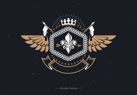 Vector vintage heraldic coat of arms created in award design and decorated using imperial crown and bird wings 写真素材 - 147588273