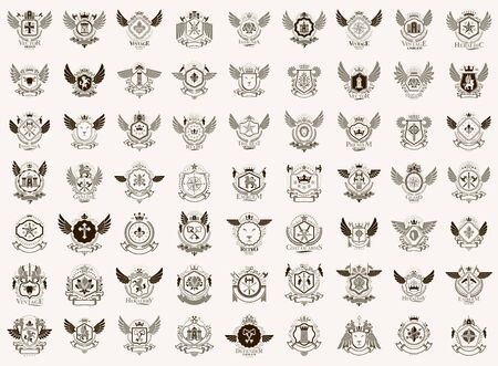 Vintage heraldic emblems vector big set, antique heraldry symbolic badges and awards collection, classic style design elements, family emblems. Stok Fotoğraf - 147668256