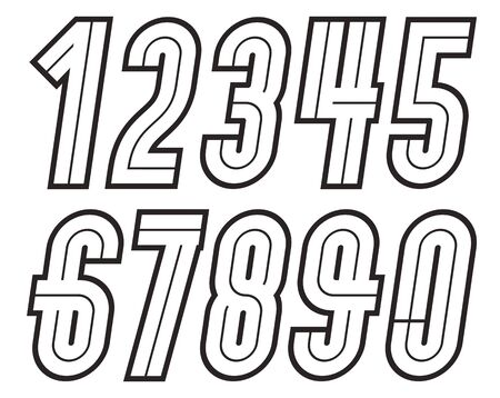 Vector tall regular numbers, modern numerals set, can be used in retro poster design