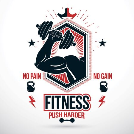 Graphic vector insignia created with strong sportsman biceps arm holding disc weight dumb bell and with kettle bell sport equipment. Fitness and heavyweight gym sport club symbol template