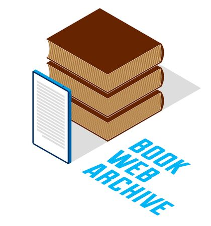 Electronic book concept with cell prone gadget 3d isometric vector design, online reading, book web archive, e-book ebook.
