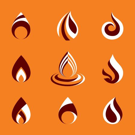 Collection of hot orange fire vector illustrations, nature elements.  Illustration