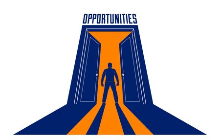 Man standing in half open big door hesitating to step in vector concept of new opportunities, step into future metaphor, debt decision to go to future. Vectores