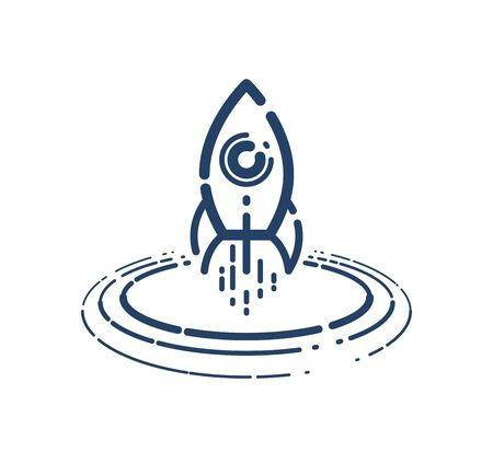 Rocket launch vector simple linear icon, missile start up business line art symbol, space technology and science, science fiction literature sign.