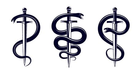 Snake and Dagger, Serpent wraps around a sword vector vintage tattoo, Roman god Mercury, luck and trickery, allegorical logo or emblem of ancient symbol. Çizim