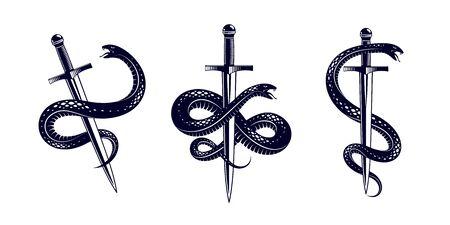 Schlange und Dolch, Schlange wickelt sich um ein Schwertvektor-Vintage-Tattoo, das Leben ist ein Kampfkonzept, ein allegorisches Logo oder ein Emblem eines alten Symbols.