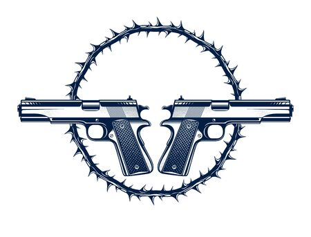 Two crossed handguns vector emblem or logo isolated on white, vintage style coat of arms crest, weapons, army force or gang sign.
