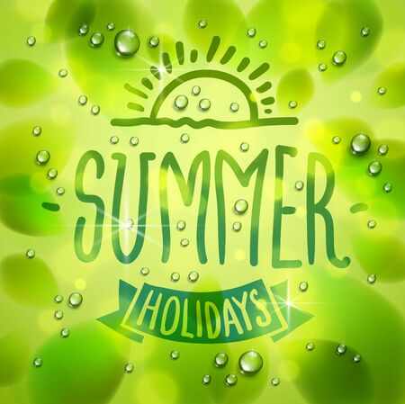 Summer type composition drawn on a window, fresh green leaves and water rain drops or condensate macro, vector 3d realistic transparent illustration, summertime nature beautiful art.