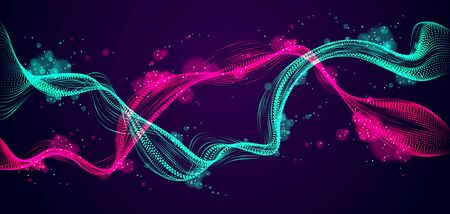 Dynamic particles mutual sound wave flowing over dark. Dotted double curves vector abstract background. Beautiful 3d wave shaped array of shining blended points. Illustration