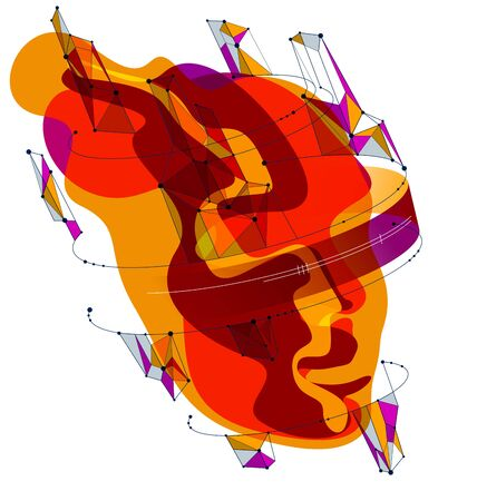 Abstract artistic human head portrait made of dotted particles array, vector illustration of Artificial Intelligence, software digital visual interface.  イラスト・ベクター素材