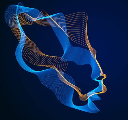 Technological evolution time, digital software soul of machine, human head vector portrait made of dotted particles flow in wave shapes lines. Beautiful futuristic illustration.  イラスト・ベクター素材