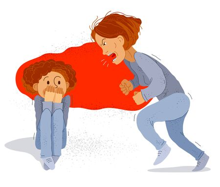 Abusive mother vector illustration, bad mother scream and shout on little frightened kid boy her son, domestic violence, victim child, despotic parent, psychological violence abuse. Vector Illustration