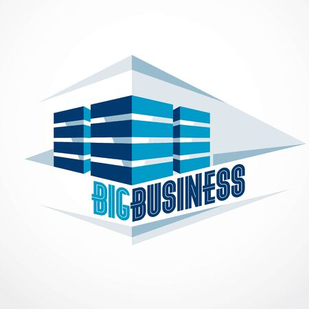 Futuristic building, modern style vector architecture illustration. Real estate realty business center design. 3D business office facade in big city. Can be used as a logo or icon.