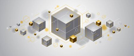 Cubes cluster with golden elements lines and dots vector abstract background, 3D abstraction vip luxury style, geometric design, technology and science theme. Banco de Imagens - 148193756