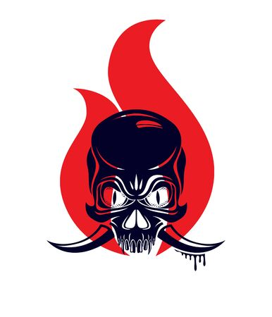 Devil sign horned skull in flames vector illustration classic style tattoo, dead scull with animal horns on fire.