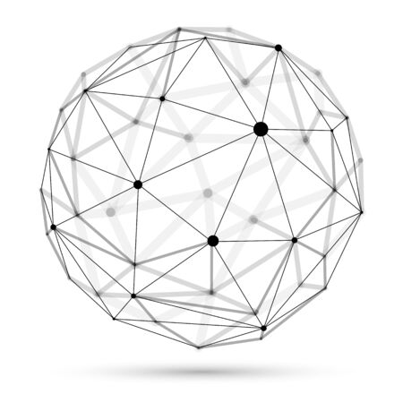 Abstract 3D mesh sphere vector illustration, dots connected with lines technology polygonal object isolated on white background, dynamic lattice with realistic depth of field effect.