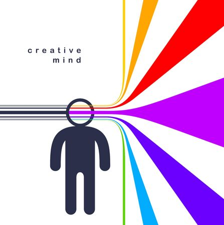 Creative mind brain vector concept in flat trendy design style, colorful rainbow stripes goes out of man head symbolizes creative ideas and thinking, artist designer or writer author. Vector Illustratie