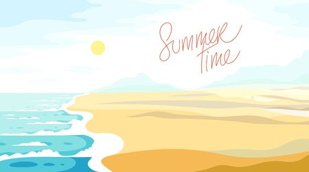 Tranquil seashore beach ocean or sea, summer holidays and vacations theme vector illustration, can be used as a background for card or banner to add text. Illustration
