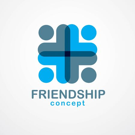 Teamwork businessman unity and cooperation concept created with simple geometric elements as a people crew. Vector icon or logo. Friendship dream team, united crew blue design. Logo