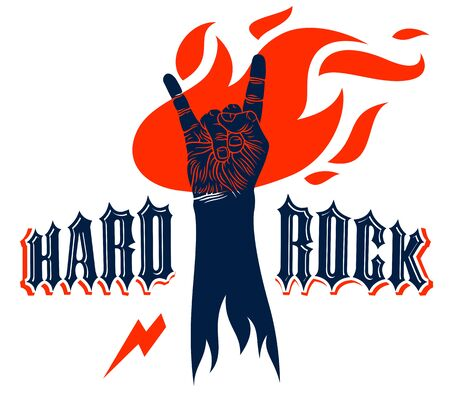 Rock hand sign on fire, hot music Rock and Roll gesture in flames, Hard Rock festival concert or club, vector label emblem or logo, musical instruments shop or recording studio.