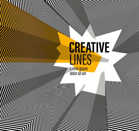 Abstract vector 3D lines with yellow elements background, black and white linear perspective dimensional optical pattern.