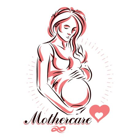 Pregnant female beautiful body outline, mother-to-be drawn vector illustration. Mother Day conceptual flyer Vectores