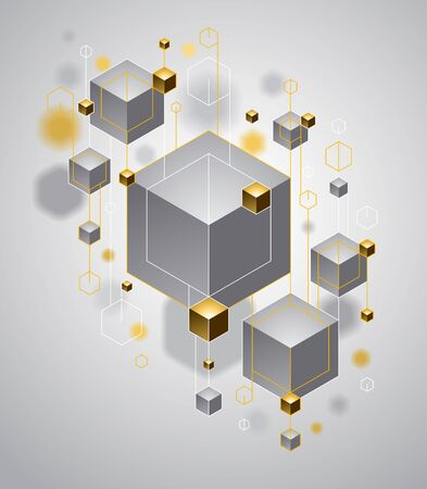 Abstract vector design with cluster of 3D cubes with golden elements vector design, luxury or jewelry color style, can be used for technology and science abstraction art. Ilustração